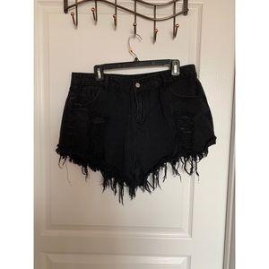 SHEIN denim black Hugh waisted shorts